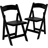 Flash Furniture 2 Pk. HERCULES Series Black Wood Folding Chair with Vinyl Padded Seat