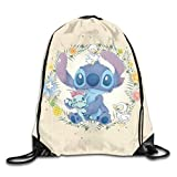 Etryrt Cute Stitch Mochila de Cuerda Bolsas de Gimnasia Print Shoulder Bags Sackpack Sport Gym Backpack Storage Bag
