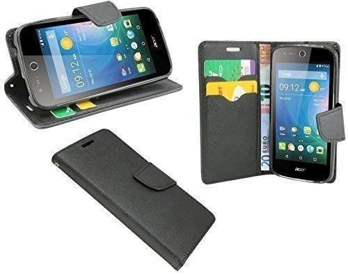 ENERGMiX Elegante Buch-Tasche kompatibel mit Acer Liquid Z330 Dual-SIM in Schwarz Wallet Book-Style
