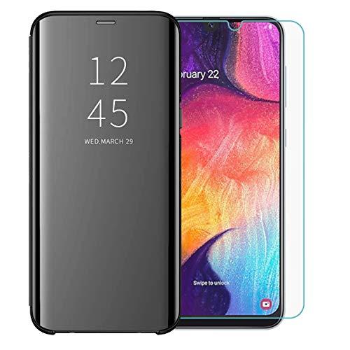 TANKLE Kompatibel Mit Samsung Galaxy A50 Hülle Smart Cover Spiegeln Handytasche Flipcase Ultra Thin passt für Samsung Galaxy A50 (black, A50)