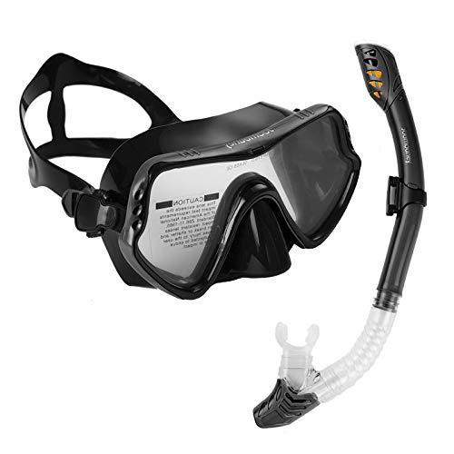 Joomouney Taucherbrille Set Erwachsene und Jugendliche Schnorchelset mit Dry Schnorchel und Anti-Fog Anti-Leck Schnorchelmaske für Schnorcheln Tauchmaske
