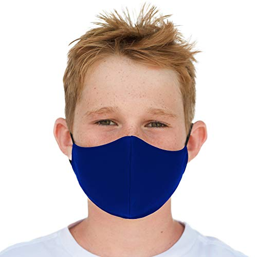 Youth Washable Face Mask with Adjustable Earloops & Nose Wire - 3 Layers, 100% Cotton Inner Layer - Ages: 5-12 - Cloth Reusable Face Protection with Filter Pocket (Solid Royal Blue)