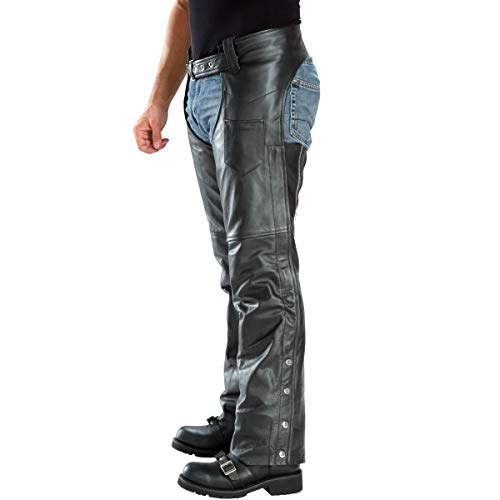 Xelement B7552 Men's Black 'Easy Fit' Premium Motorcycle Chaps - 36