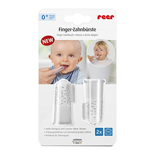 reer 79249 Finger-Zahnbürste Silikon 2 Stück, Baby-Zahnbürste aus Silikon, latexfrei, transparent 9 g