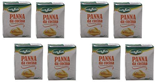 Tre Valli Italian Panna Da Cucina, UHT Long Life Cooking Cream 6.76 fl.oz 200ml ,Pack of 8