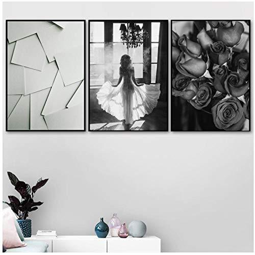 DLFALG Papier Mädchen Rose Wandkunst Leinwand Malerei Nordic Poster Und Drucke Schwarz Weiß Wandbilder Für Wohnzimmer Wohnkultur-40x60 cm x 3 Kein Rahmen