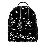 ATOMO Casual Mini Mochila Lámparas de Navidad Fondo PU Cuero Viajes Bolsas de compras Daypacks