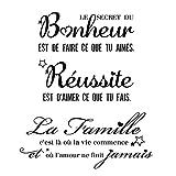 2Sets Stickers Muraux Citations Française Autocollant Mural Texte Famille et Bonheur Réussite Secret Décoration Home Décalque Wall Sticker DIY Peinture Chambre Salon Bureau
