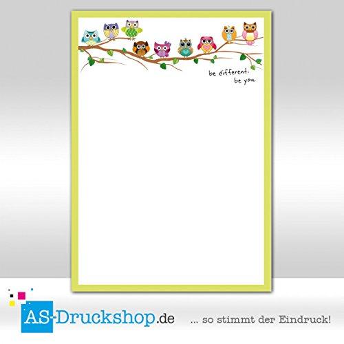 Designpapier Eule - Eulenkinder / 100 Blatt/DIN A5 / 90 g-Offsetpapier