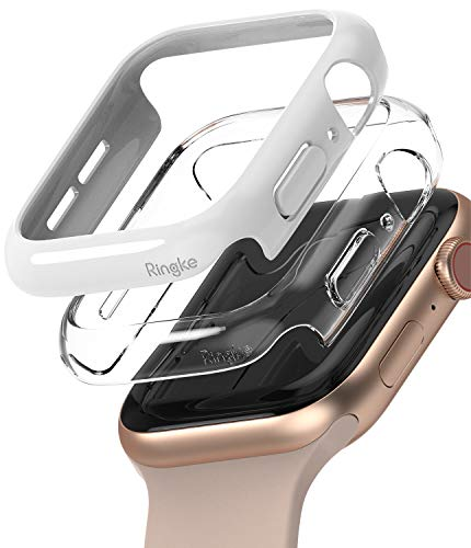 Ringke Slim Compatible con Funda Apple Watch Series 6/5/4/SE 44mm, Delgada Ligera Fina Carcasa [2 Unidades] - Clear/White