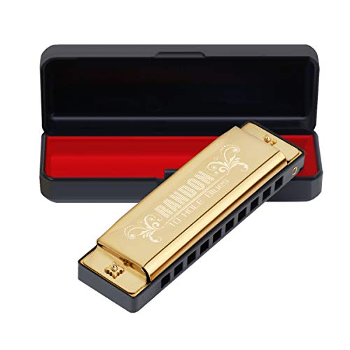 Randon Harmonica, Blues Harmonica Key of C 10 Holes 20 Tones Mouth Organ C Harmonica for Kids, Adults, Beginners,Students (Gold)
