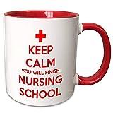 Lawenp mug_216316_5 Keep Calm You Will Finish Tazza della scuola infermieristica, 11 once, rosso