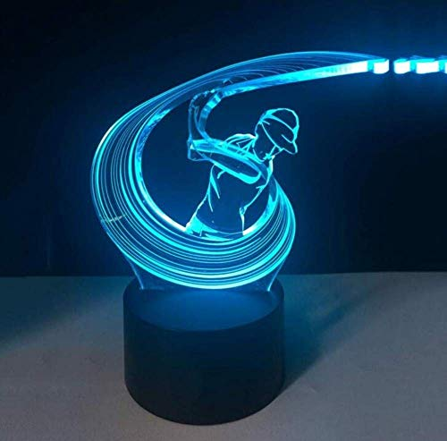 3D Play Golf Swing Action Boy Modeling Tafellamp Touch Switch Night Lights USB Home Decor Regal