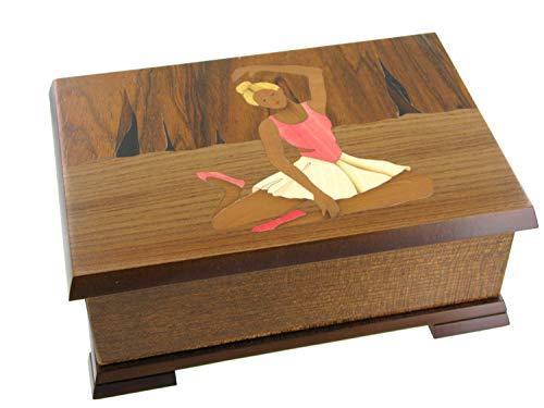 Caja de música para joyas / joyero musical de madera con bailarina y marquetería bailarina - El vals del emperador (J. Strauss)