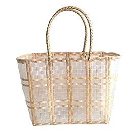 GSDJU Cache Pot,Panier rotin,Fleur,Sacs à Main d'été pour Dames en Plastique Transparent tissé Panier à provisions…