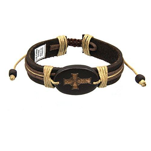 JewelryVolt Adjustable Leatherette Bracelet Celtic Cross