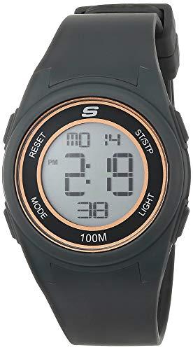 Skechers Women's Vicksburg Polycarbonate Digital Watch with Silicone Strap, Gray, 20 (Model: SR2105)