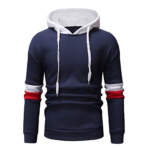 Xmiral Hoodies Herren die Farbe Pullover Langarm-Kapuzenpulli Baumwolle Tops Splicing (L,Blau 2)