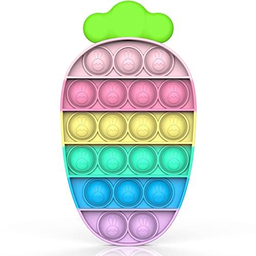Bdwing Silicone Push Bubble Sensory Pop it Fidget Juguete, Durable Rainbow Sensoria Antiestrés Toy, Anxiety Relief Sensory Toy, Apto para Niños, Familias y Amigos, Zanahoria