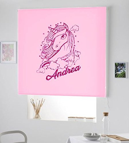ESTORES ENROLLABLES HABITACON Infantil NIÑA- Estor Infantil con Nombre Unicornio Andrea/PERSIANA Estor Juvenil con Nombre (Rosa Palo, 120X175)