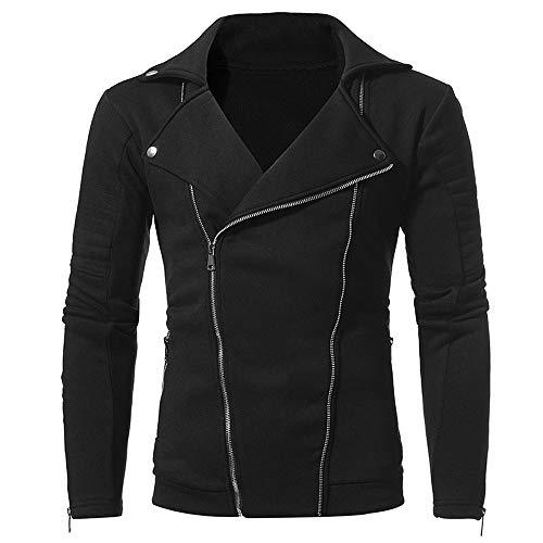 Zarupeng Casual jas met lange mouwen voor heren, effen slim fit, motorjas, ritssluiting, omlegde kraag, mantel top