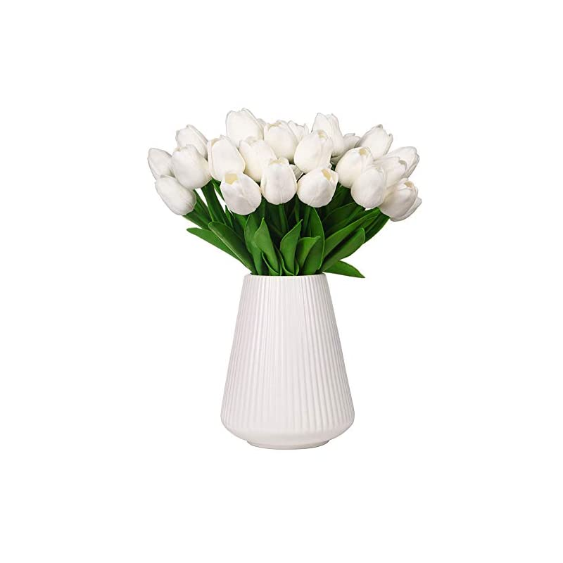 silk flower arrangements momkids 20 pcs artificial flowers tulips fake faux pu tulip bouquet real touch flower for hotel banquet stage home living room dining table outdoor balcony garden wedding party decor (white 12.5 inch)