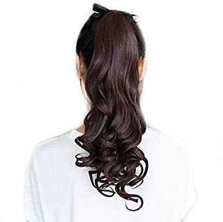 Ponytail clip in hair extensions Long Curly weave Hairpiece 22 inches Dark Brown #4 claw clip On in synthetic Pony tail 140g Fake Hair with a jaw/claw clip (22