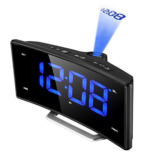 PICTEK Radio Alarm Clock, [Curved-Screen]...