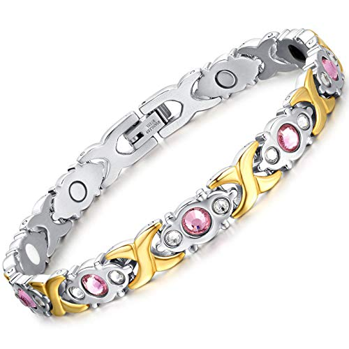 Jeracol Magnetic Bracelet Sparkly Crystal Magnetic Therapy Bracelet Pain Relief for Arthritis Titanium Magnetic Bracelets Health Care Best Gift for Women Mother's Day with Remove Tool&Gift Box