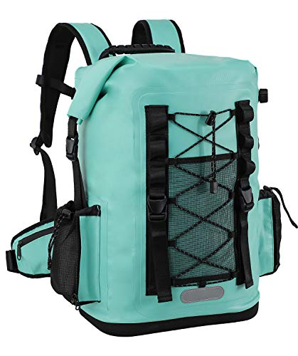 MIER 100% Waterproof Insulated Backpack Roll Top Soft Cooler Bag Hiking Beach Fishing Kayaking, 30L, Turquois