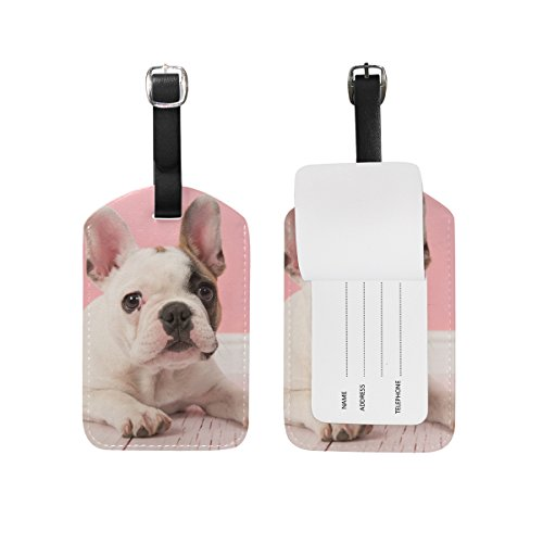 ALAZA French Bulldog Puppy Luggage Tag PU Leather Bag Suitcases Label 2 Pieces Set