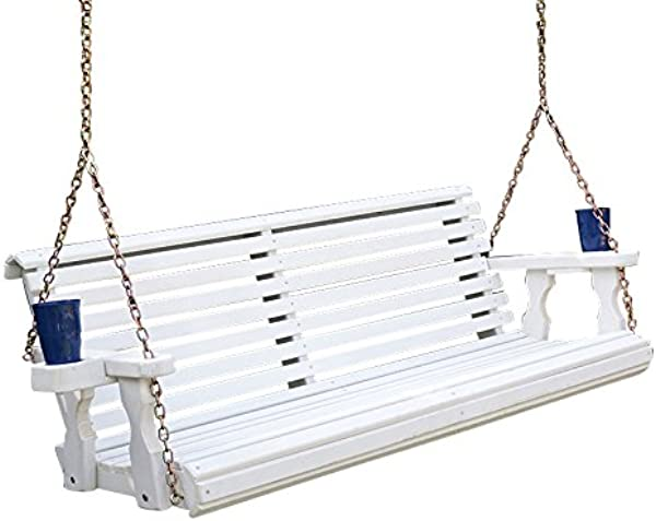 Amish Heavy Duty 800 Lb Roll Back Treated Porch Swing With Hanging Chains And Cupholders 4 Foot Semi Solid White Stain