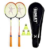 SUNLEY Swag Body Badminton Racket Set of 2 with 3 Pieces Nylon shuttles
