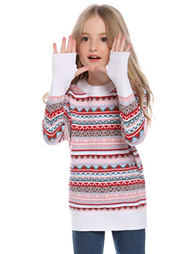 Hawiton Mädchen Pullover Jungen Strickpullover Winterpulli Norwegerpullover Familie Weihnachtspullover Rundhalspullover im bunt gemusterten Jaquard-Feinstrick, Weiß, 10Y