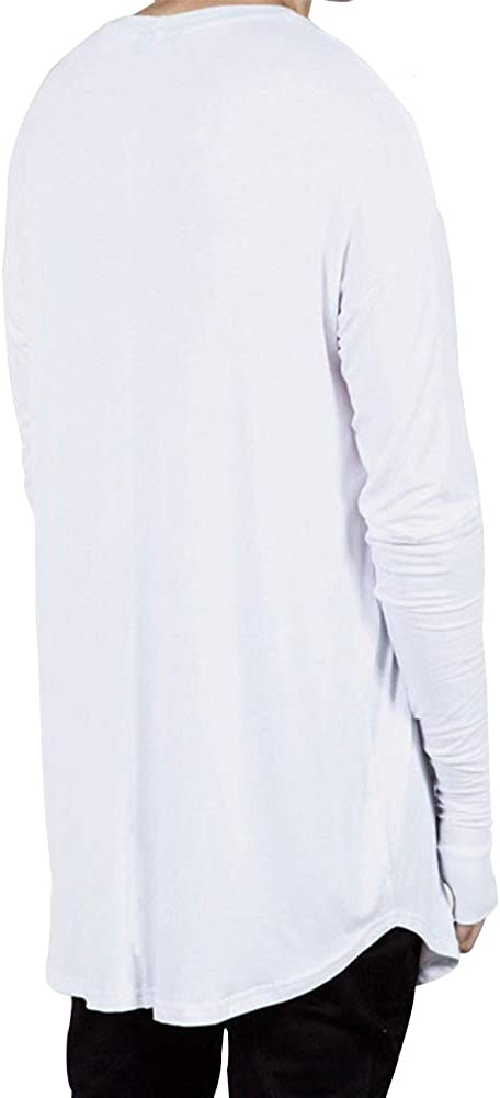 JXEWW Women Thumb Hole Slim Fit Blouse Swag Hipster T Shirt O Neck Curved Hem