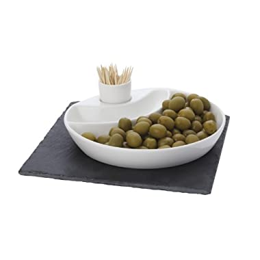 Maxwell and Williams Basics Slate 3-Piece Square Olive Dish, White