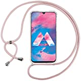 Ingen Funda con Cuerda para Samsung Galaxy M30/A40S- Carcasa Transparente TPU Suave Silicona Case con Colgante-Rosado