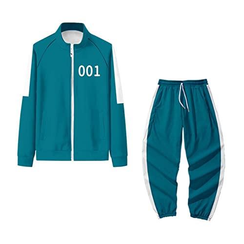 Squid Game Set Freizeitanzug Sportbekleidung Cosplay Relaxo Kostüm 456 001 Hoodie Unisex Jumpsuit Pyjama Fasching Halloween Trainingsanzüge 218 067 Sportanzug 001 XL