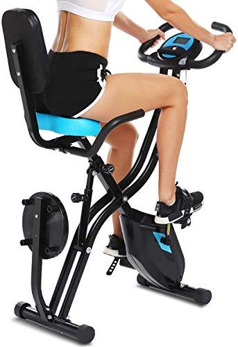 ANCHEER Bicicleta Estatica Bicicleta de Ejercicio Plegable de Interior con Respaldo,Giro de Cintura y Monitor de Corazón – Perfecto Máquina de Ejercicio en Casa para Cardio Color Gris