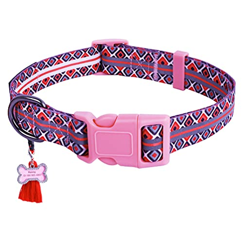 Osonm Reflective Dog Collar with Double Reflection Lines, Adjustable Tribal Geometric Dog Collar for Small Medium Large Dogs(L, Pink Buckle)