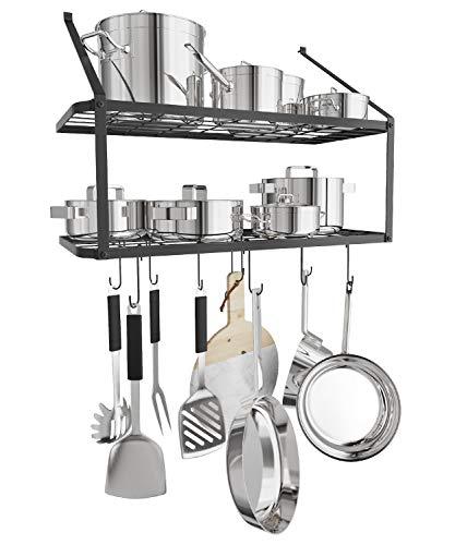 X Home Pot Rack, 29.3 Inch Pan Rack, 2 Tier Wall Mounted Pot Hanging Rack, Hammered Steel Pot...