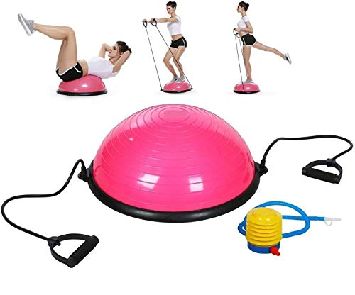 5 Star TD Balance Stability Half Ball for Abdominal Abs Balance Strength Training Exercise Fitness Workout with Workout Guide, Foot Pump and Straps (Pink)