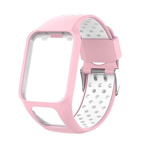 KINOEHOO Cinturino Compatibile con TOMTOM Runner 2/3 Cardio/Music Spark Cardio/Music Spark 3 Cinturini di Ricambio in Silicone.(rosa bianco)
