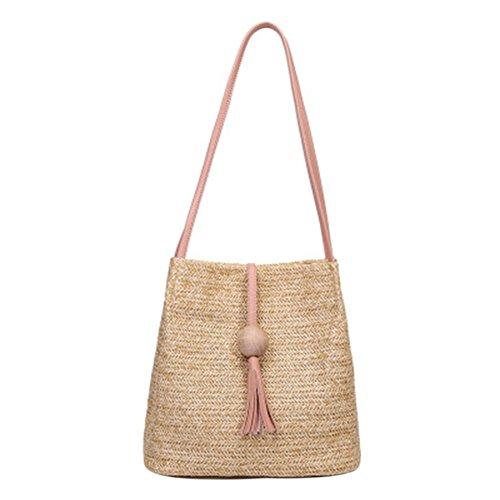 Borsa di paglia secchio, borsa a tracolla, estate nuova palla di legno nappa Messenger Bag, Rosa