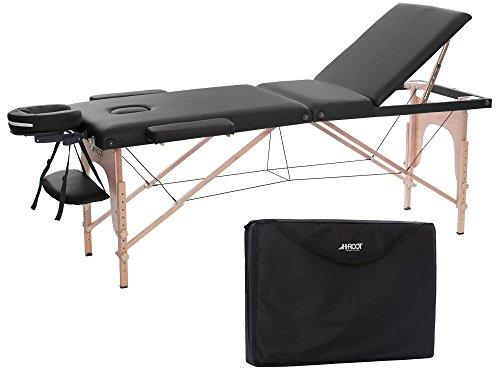 H-ROOT 3 Zonen Massagetisch Tragbares Leichtes Deluxe Couch Bett Sockel Therapie Tatoo Salon Reiki Healing Schwedische Massage mit Freirer Tragetasche (195cm x 70cm x 62-83cm, Schwarz)
