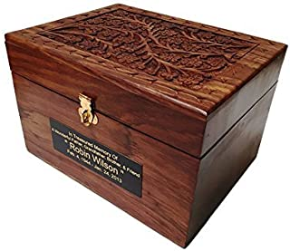 Adult Size Hard Wood Human Funeral Cremation Urn with Hand Engraved Flower Design and a Personalized Name Plate