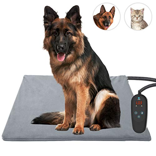 petnf Upgraded Pet Heating Pad for Dogs Cats with Timer,35.4'' x 23.6'' Safety Cat Dog Heating Pad,Waterproof Heated Cat Dog Bed Mat