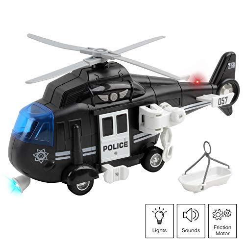 Vokodo Police Helicopter 11' With Lights And Sounds Push And Go Includes Rescue Basket Durable Toy Friction Kids Cop Chopper SWAT Airplane Pretend Play Truck Great Gift For Children Boys Girl Toddlers