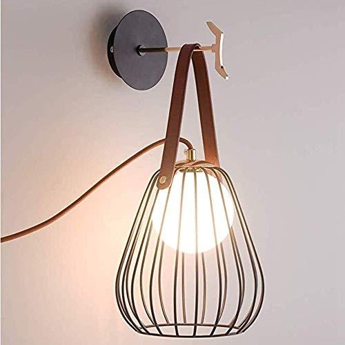 Moderne metalen kooi wandlamp met een uitschuifbare schakelaar, Nordic metaal, ijzer, lantaarn, leer, bretels, hangende haken, persoonlijkheid, creativiteit, slaapkamer, nachtverlichting