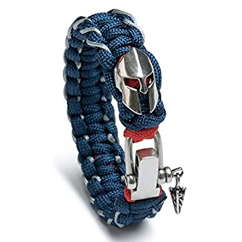 Kayder Antique Silver Spartan Helmet Charm Paracord Bracelet with Adjustable Metal D Shackle Closure Hand Woven with Blue Red and Thin Gray Line
